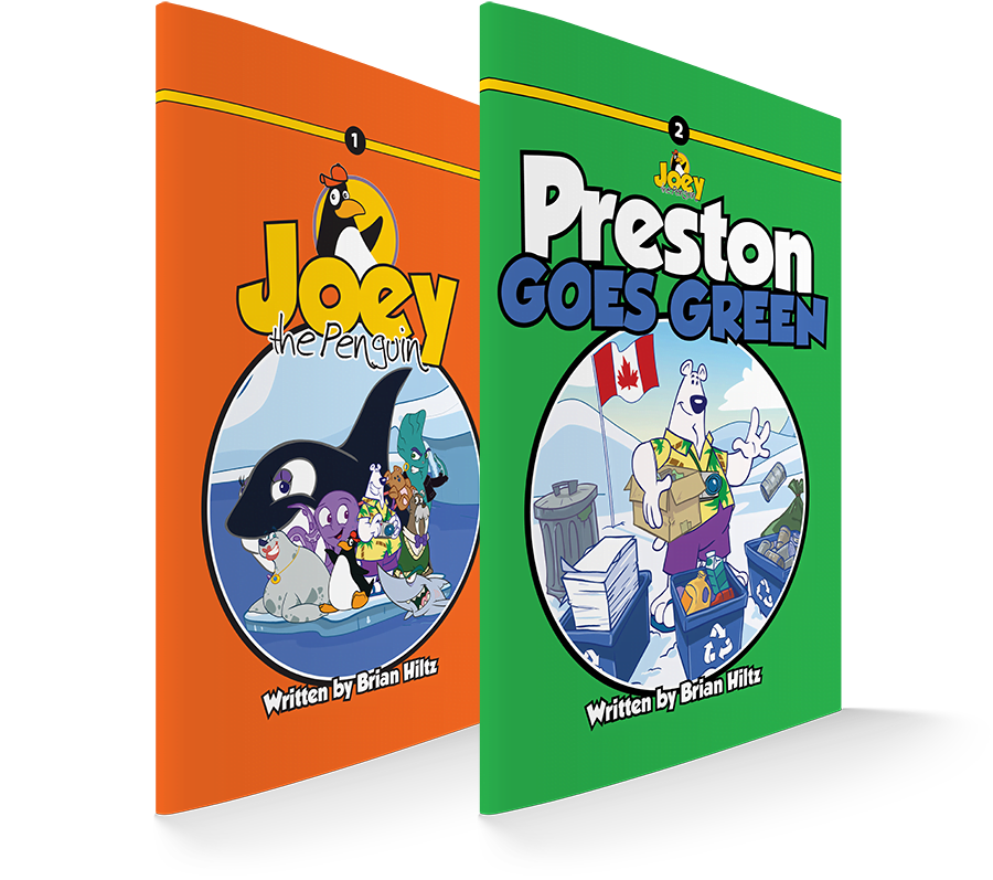 Book covers for Joey The Penguin and Preston Goes Green